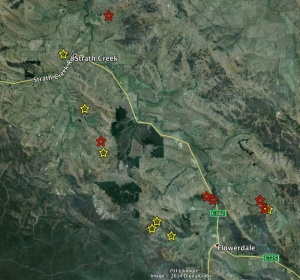 New project sites (red stars) and existing sites (yellow stars).